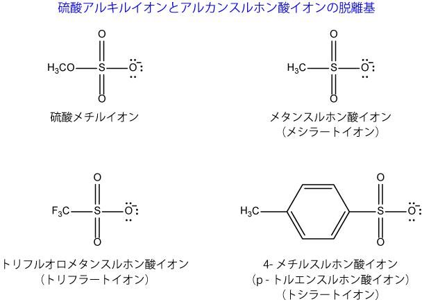 硫酸アルキルイオンとアルカンスルホン酸イオンの脱離基