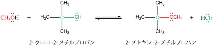 メタノール中での加溶媒分解の例